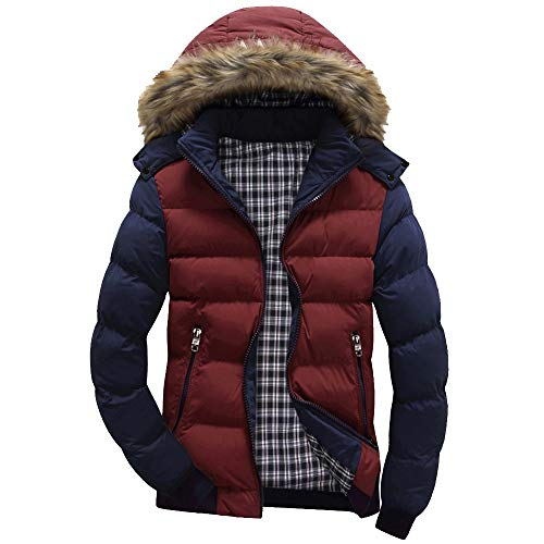 NIUQI Men Winter Coat Warm Fleece Down Jacket Fur Hood Hat Men Outerwear Casual Mens Coats Thick Hoodies M~4XL