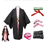 Niños Demon Slayer Kamado Nezuko Cosplay disfraz Tanjirou Kimono Headwear Japón Anime vestido de Halloween