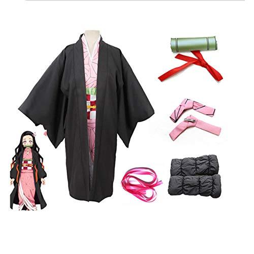Kids Demon Slayer Kamado Nezuko Costume Cosplay Tanjirou Kimono Headwear Japan Anime Halloween Dress