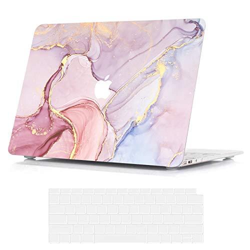 Belk Hülle Kompatibel mit MacBook Air 13 Zoll 2020 2019 2018 mit Retina Display & Touch ID A2337 M1 A2179 A1932, Dünn Plastik Druck Muster Hartschale Schutzhülle Case & Tastaturschutz, Rosa Marmor