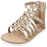 MIXIN Toddler Girl Sandals for Summer Gladiator Cross-tied Zipper Flat Sandals with Strappy Ankle Zipper for Little Girl(Gold,Size9)
