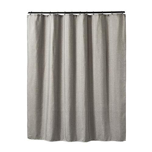 JIUJ Duschvorhang, schimmelresistent, 180 x 200 cm, maschinenwaschbar, 100prozent Baumwolle, grau, 180 * 200
