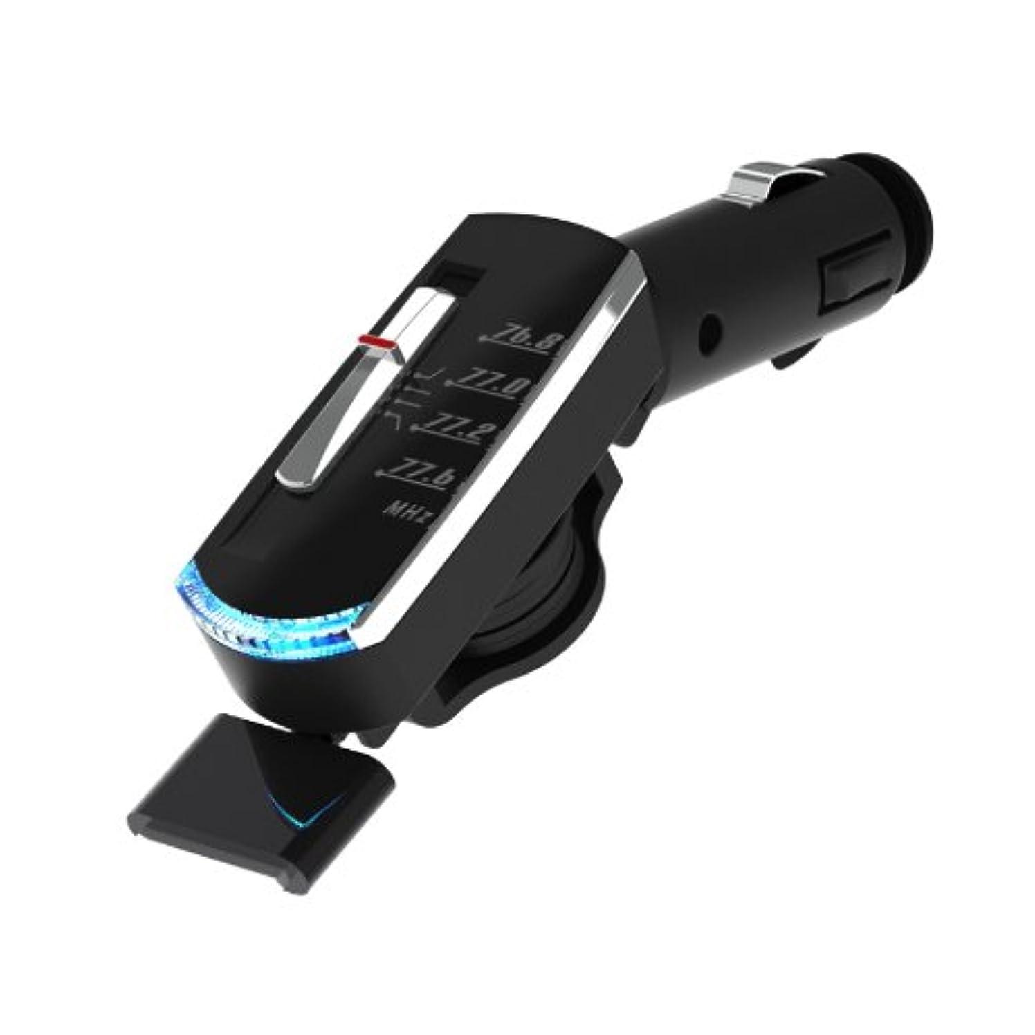 せっかち変動する闇ミラリード 充電リール付FMトランスミッター4CH(iPhone) ブラック 70cm GS-155