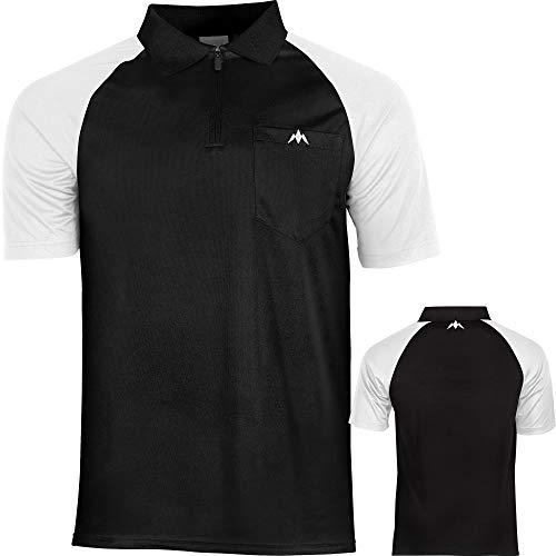 Mission Exos Cool SL Darts Shirt 9 Farben Größen Sm-5xl Dart Pocket Polo Shirt, schwarz / weiß, XXXX-Large