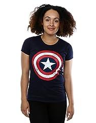 Marvel mujer Captain America Distressed Shield Camiseta