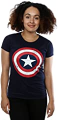 Marvel mujer Captain America Distressed Shield Camiseta