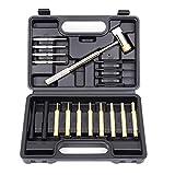 Juego de punzones Juego de punzón Pinch Kit Punch con kit de herramientas de remoción de metal de martillo de cobre doble para mantenimiento de Smithing