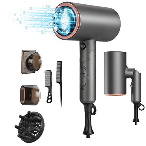 MANLI Secador de Pelo Profesional de Iones, Secador de Pelo Plegable de Viaje Hair Dryer de Pelo Pequeño, Usando tecnología de cuidado de cabello iónico, Disponible en Tres Velocidades