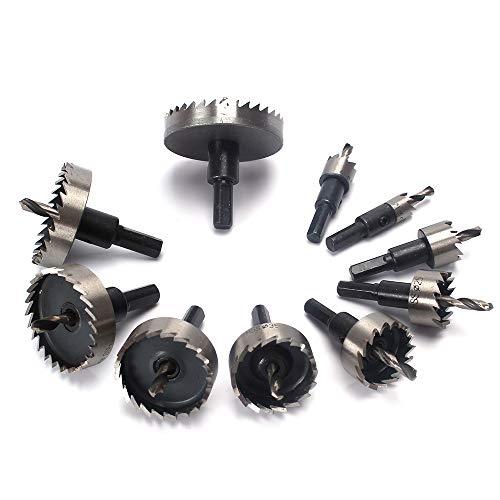 16-60mm HSSドリルビット ホールソーセット 12Pcs ドリルビット ホールソー セット 切削 工具 DIY 穿孔 掘削 電動ドリル用 ,サイズ16mm、18mm、19mm、20mm、22mm、25mm、30mm、35mm、40mm、 45mm、