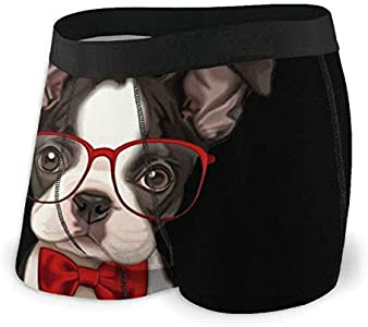 Yuanmeiju Mens Boxer Shorts Fitted Bragas Funny Boston Terrier Trunks Quick Dry Ropa Interior