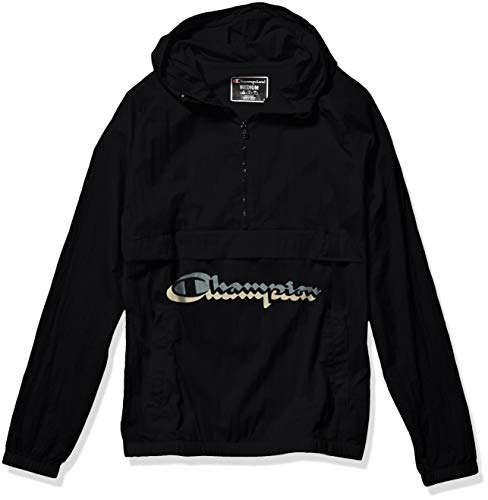 Champion LIFE Men's Anorak Windbreaker, Black w/Shadow Script, Medium