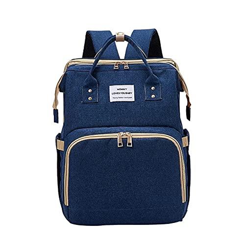 Multifunctional Waterproof Mom Back Pack Diaper Changing Bag Mummy Diaper Backpack Baby Diaper Bag (Blue)