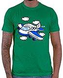 Hariz - Camiseta para hombre, diseño de avión y tren verde M