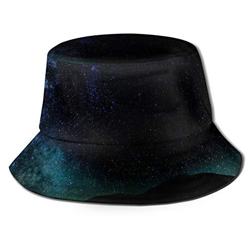 NA Unisex Bucket Sonnenhut Pfau breite Krempe Outdoor Sonnenschutz Walking Fisherman Cap Constellation Kosmos Dark Exploration Night