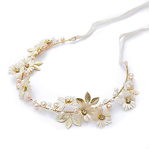 JIAOAO 6 diademas blancas con diseño de margaritas y flores de color dorado para novia, tiaras de joyería para el cabello, corona de dama de honor