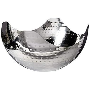 Elegance Hammered 10-Inch Stainless Steel Wave Serving Bowl