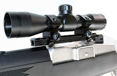 TRINITY Hunting Sight 4x32 Replacement for Ruger Mini 14 Ranch Ruger Mini 30 Hunting Optics Tactical Home Defense Accessory Picatinny Weaver Base Mount Adapter Rail Aluminum Black Single Rail Mount.