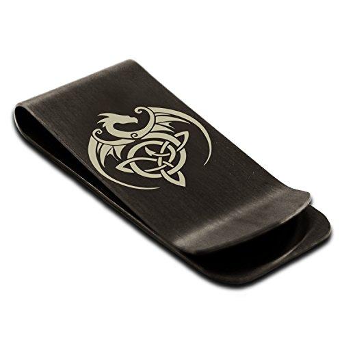 Matte Black Stainless Steel Celtic Dragon Triquetra Symbol Money Clip Credit Card Holder