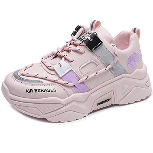 Zapatillas de deporte para mujer con elevación para mujer, zapatillas de fútbol, zapatillas de correr, zapatillas deportivas 35-40, color Rosa, talla 39 EU