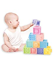 Baby Squeeze and Stack Block Set Soft Building Blocks Teething Chewing Toys