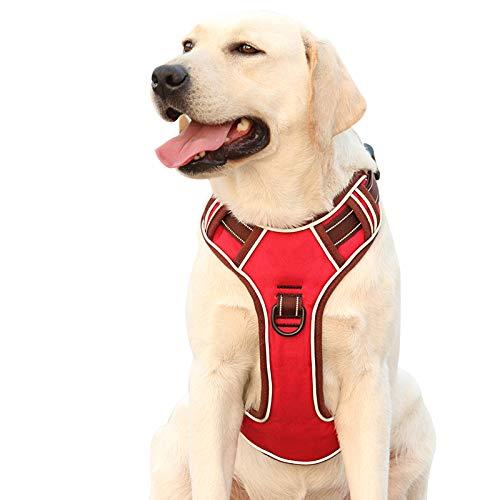 HEELE Hundegeschirr Hundegeschirr für Große Hunde Anti Zug Geschirr Hunde Brustgeschirr Reflektierend Weich Gepolstert Atmungsaktiv, Rot, XL