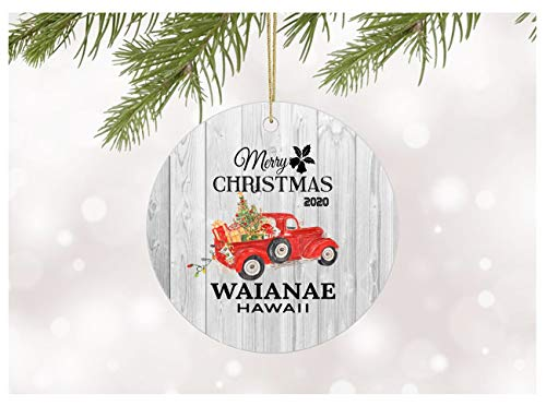 Ornament Decoration Merry Christmas 2020 Waianae Hawaii Ornament With State Name Printed Gift Xmas Decor Merry Christmas Decorations For Home Ceramic Christmas Tree Ornaments