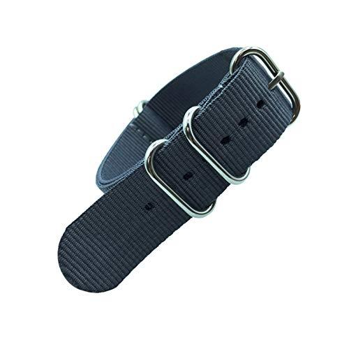 okkpbg Correa de Hombre Correa Colorida Arco Iris 18mm 20 mm 22mm 24mm Military Strap Strap Tela Tela de Nylon Cinturón Hebilla Casual y Hermosa (Band Color : Grey, Band Width : 24mm)