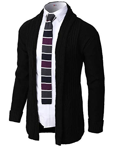 H2H Mens Casual Comfortable Fit Open Front Cardigan Lightweight Long Sleeve Black US L/Asia XL (CMOCAL046)