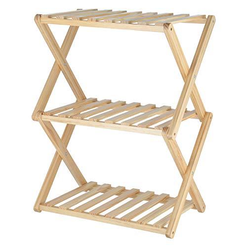 不二貿易 折りたたみラック 幅45cm 高さ62cm ナチュラル 3段 木製 インナーボックス対応 リム 72154