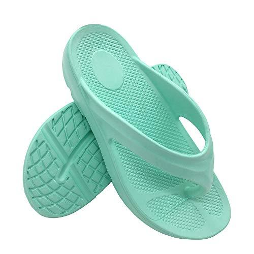 FUNKYMONKEY Women's Thong Flip Flop Ultra Soft Arch Support Sandals (8 M US, LT Cyan)