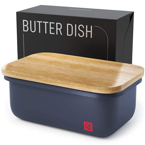 Butter Dish with Bamboo Lid - Countertop Butter Stick Container with Airtight Freshness Seal - Butter Keeper with Cutting and Chopping Board - Butter Crock for Counter Top by Kensington London - 23oz