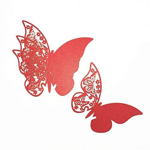 ElecMotive 100 Stück Schmetterling Tischkarten Namenskarten Glasanhänger Wandsticker für Tischdeko Hochzeit Party Haus Deco (Rot)