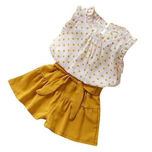 Moneycom❤Enfants Fille Dot sans Manches Veste t-Shirt Couleur Pure Frenulum Shorts Costume Jaune(4-5 Ans)