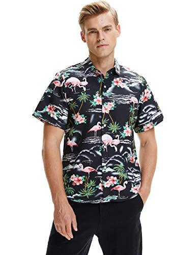 SSLR Camisa Manga Corta con Estampado de Flamencos y Flores Estilo Hawaiana de Hombre (Medium, Negro)