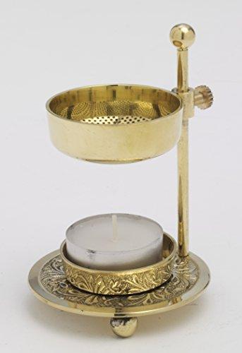 Weihrauchstövchen Räucherstövchen verstellb. H 11 cm, Messing, Gold, für Teelicht, Höhenverstellbar
