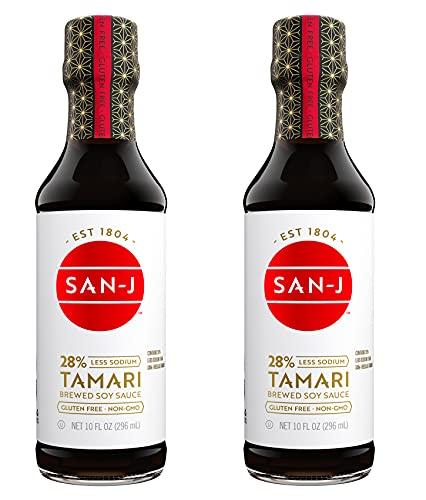 San-J Tamari Gluten Free Soy Sauce, Reduced Sodium, 10 Fl. Oz. Bottle (2 Pack)