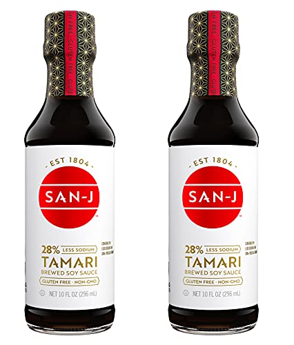 San-J Gluten Free Tamari Soy Sauce, Reduced Sodium | Vegan, Kosher, Non GMO, FODMAP Friendly | Made with 100% Soy | Full Flavored Low Sodium Soy Sauce | 10 Fl Oz (Pack of 2)