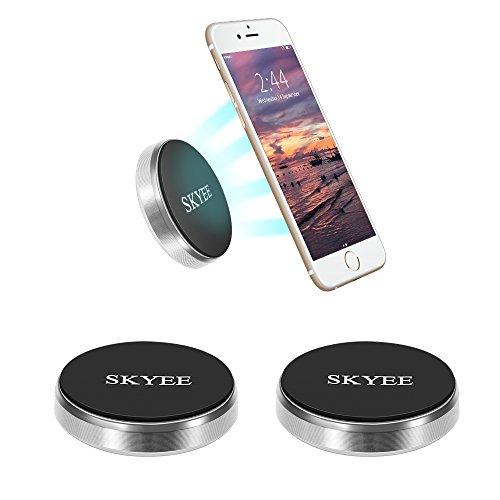 Skyee [2 Unidades Soporte Movil Coche Magnético Pegar en la Salpicadero, Pared, Universal Soporte Teléfono iman con 4 Piezas Placa Metálicas Soporte para Llaves, GPS, Smartphone (Silver)