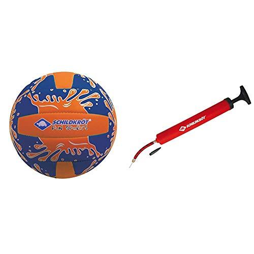 Schildkröt Funsports Neopren Mini-Beachvolleyball GR. 2 Ø 15cm, orange/Blau, 2 & Schildköt Ballpumpe, inkl Luftschlauch und 2 Nadeln, Balllpumpe für Fussball, Volleyball, Basketball, 970989, Rot