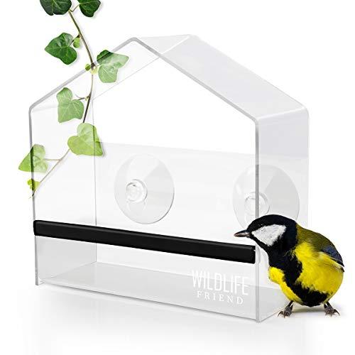 WILDLIFE FRIEND | Fenster Futterhaus für Vögel aus transparentem Acryl mit Saugnäpfen, Futterspender, Vogelfutterhaus für Meisen, Spatzen & kleineren Wildvögel [Smart]