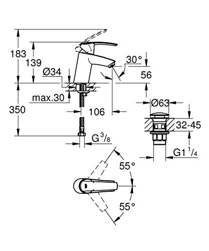 Grohe 23550001 23550001-Start–Batería Monomando para Lavabo, tamaño: S,