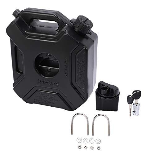 Karelu Tanica per carburante, 5 litri, nera, per auto, moto, con serratura e chiavistello