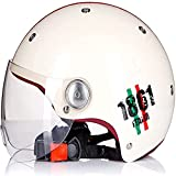 Medio casco de motocicleta Casco de cara abierta vintage Visera de sol de estilo retro Verano para hombres y mujeres Lindo eléctrico con scooter Casco de ciclomotor Certificado ECE,C,XL