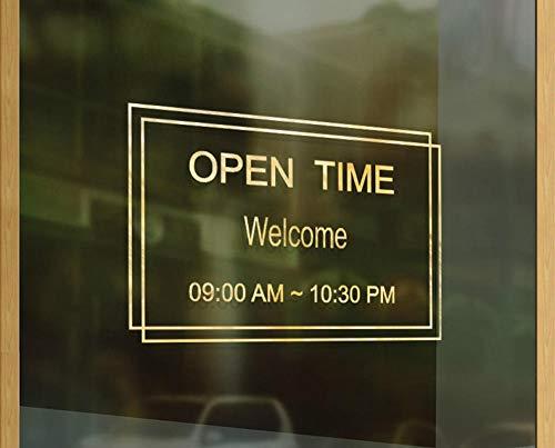 Terilizi Shop Openingstijden aangepaste tijdbrief glazen deur teken Stickers koffie melk thee winkel raam decoratie muurstickers poster geel