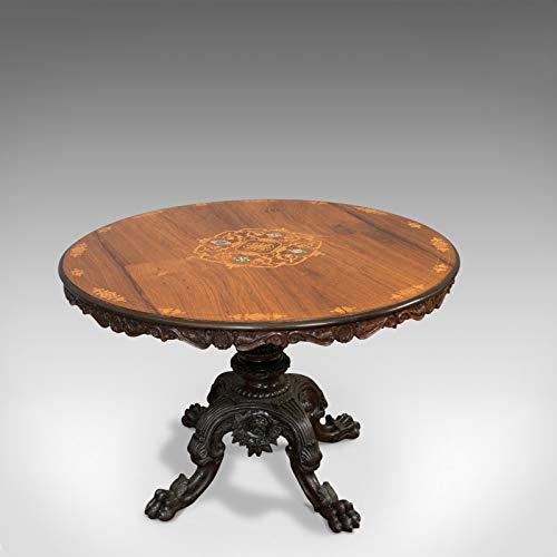 Mesa de desayuno antigua con incrustaciones, inglés, palisandro, centro, juego, victoriano
