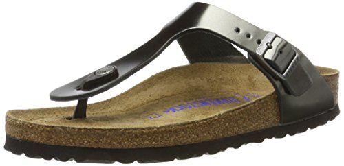 BIRKENSTOCK Damen Gizeh SFB Leather Flip-Flops, Grau (Metallic Anthracite), 38 EU
