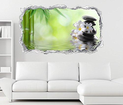 3D Wandtattoo Wellness Ruhe Bambus Zen Steine Wand Aufkleber Durchbruch Stein selbstklebend Wandbild Wandsticker 11N802, Wandbild Größe F:ca. 97cmx57cm