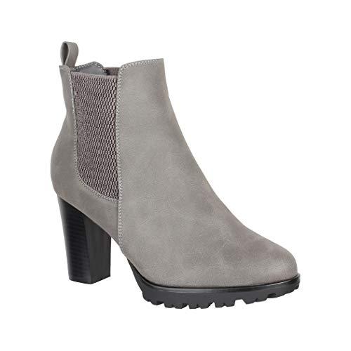 Elara Damen Stiefeletten Chelsea Boots Grau Chunkyrayan KL0160 Grey-40