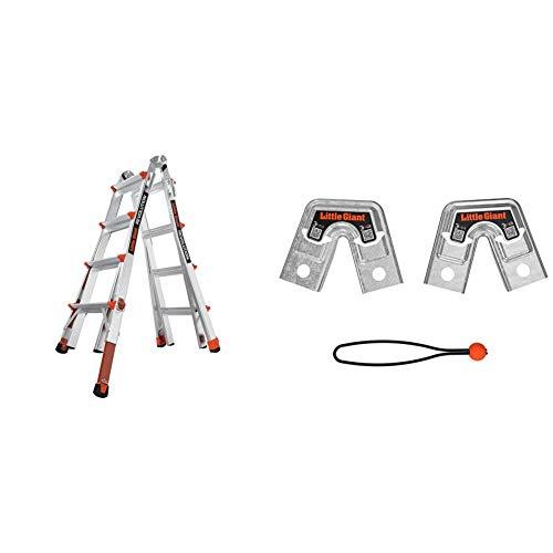Little Giant Ladders, Revolution with Ratchet Levelers, M17, 17 ft, Multi-Position Ladder,Ratchet Leg levelers, Aluminum + 26999 Trestle Bracket, Aluminum