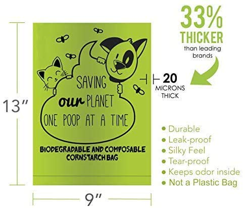 ZPAW Compostable and Biodegradable Dog Poop Bags Made with Corn Starch | Large Environmentally Friendly Dog Waste Bags Certified 100% Compostable and Biodegradable (160 Pet Waste Bags) 2